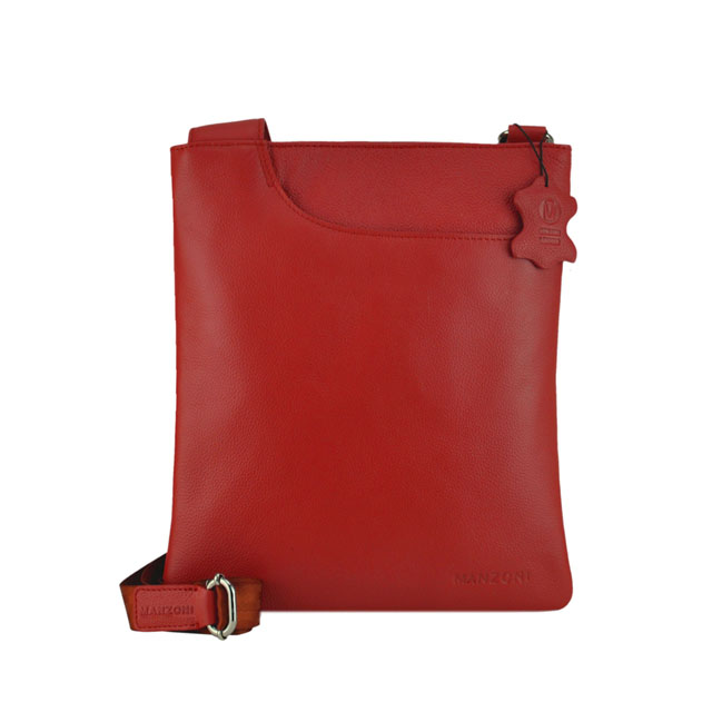 c1696c39dc67cb MANZONI ACCESSORIES Leather Cross Body Sling Bag - Red A128
