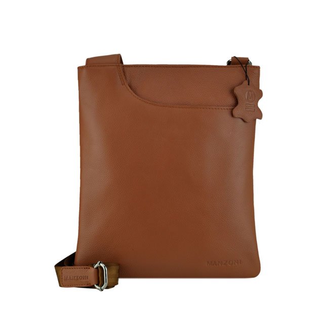 84c9460729c2 MANZONI ACCESSORIES Leather Cross Body Sling Bag - Tan A128
